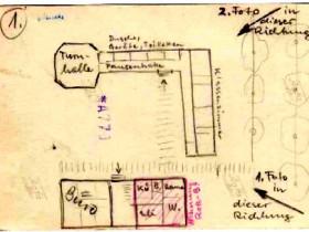 Verwaltungsgebäude und Schule auf einer Zeichnung von W. Roth-Bernstein
